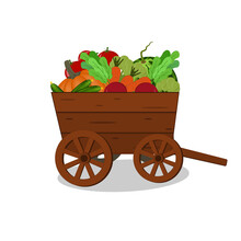 Wooden Cart With Vegetables And Fruits, Fresh Harvest, Color Vector Illustration On A White Background