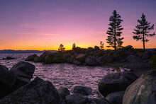 Sunset At Chimney Beach In North Lake Tahoe.