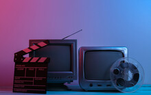 Old Tv Receivers With Movie Clapperboard, Film Reel In Red Blue Neon Light. Entertainment Industry, Media 80s
