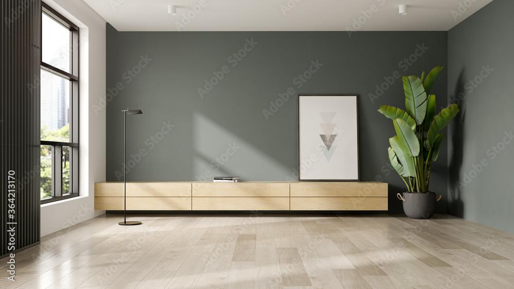 Fototapeta Minimalist Interior of modern living room 3D rendering