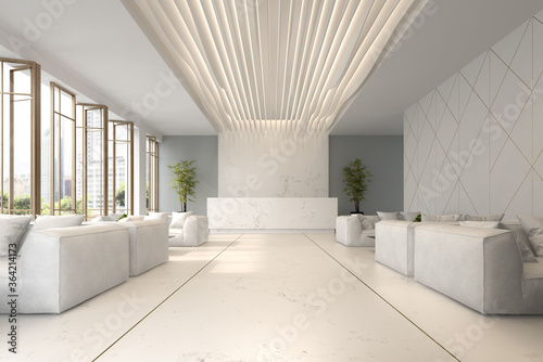 Interior of hotel and spa reception 3D illustration Canvas Print