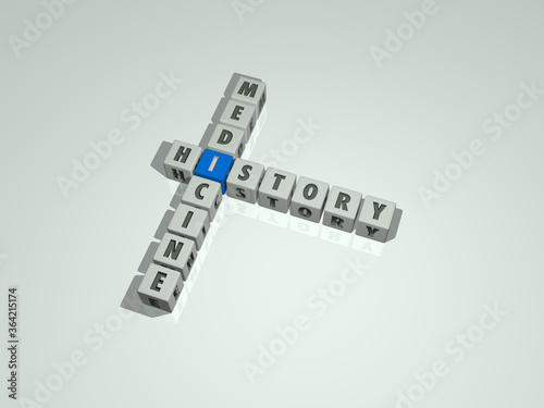 combination of HISTORY MEDICINE built by cubic letters from the top perspective, excellent for the concept presentation Canvas Print
