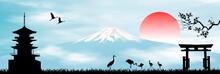 Early Morning In Japan Mount Fuji. Landscape With Mount Fuji. Rising Sun. Blue Sky. Japanese Pagoda, Sakura Branch, Gate And Birds