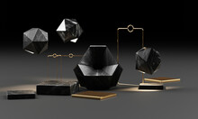 Black Marble Texture Geometric...