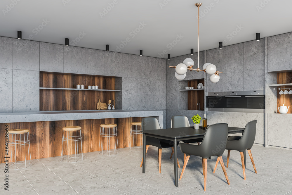 Fototapeta Stone kitchen corner with bar and table