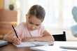 Leinwandbild Motiv Busy little girl writing or drawing with pen in notebook close up, pretty focused child schoolgirl preparing school homework, assignments, sitting at work desk at home, homeschooling concept