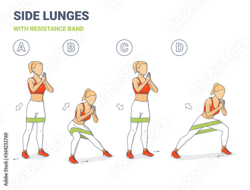 Fotografia, Obraz Side Lunges with Resistance Band Girl Silhouettes
