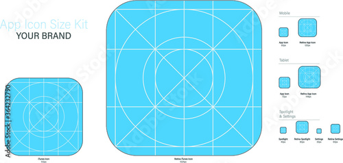 Photo Ready to use guide and sizing for Application Logo, Vector App Icon Size Set, Application Icon Size kit