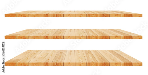 Obraz Empty wooden shelf isolated on white background. - fototapety do salonu