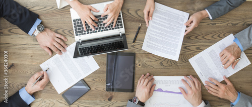 Business team discuss contract terms Canvas Print
