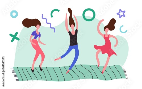 Incendiary home party. Illustration on a white background. Wallpaper Mural