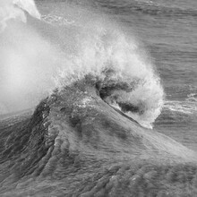 Amzing Image Of Individual Wave Breaking And Cresting During Violent Windy Storm In Black And White With Superb Detail
