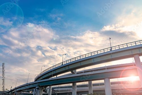 фотография 青空と雲と高架橋