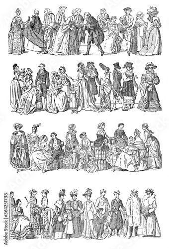 Fashion history Collection from 1600 to 1800 / a big evolution in fashion/ Vinta Canvas Print