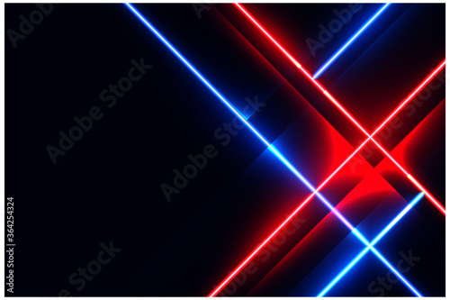 Fotomural glowing neon led lights on blue and red color