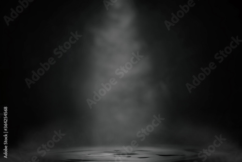 Black abstract background with water and smoke.