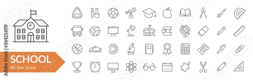 Fotomural School items line icon set
