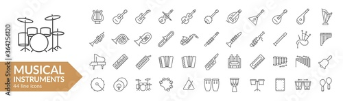 Vászonkép Musical instrument line icon set