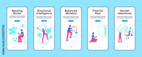 Fotografie, Tablou Psychologically balanced life onboarding mobile app screen flat vector template