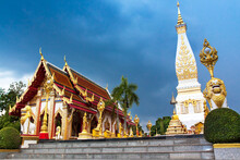 Wat Phra That Phanom, Landscape Of  Famous Ancient Temple And Pagoda Which Is Landmark Of Nakornpanom, Thailand.