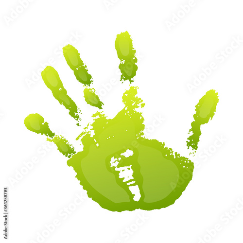 Fototapety, obrazy: Hand paint print 3D, isolated white background. Green human palm and fingers. Abstract art design, symbol identity people. Silhouette child, kid, people handprint. Grunge texture. Vector illustration