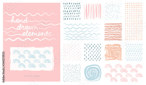 Kit pastel hand drawn artistic square backgrounds and sketch with abstract textures Fotobehang