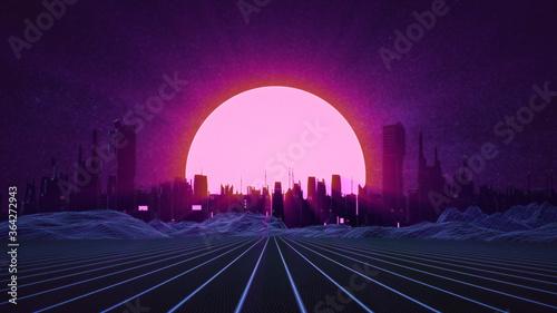 Fototapeta RETRO CITY SKYLINE: Neon glowing sun and starry sky | Synthwave / Retrowave / Vaporwave Background | 3D Illustration obraz na płótnie