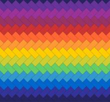 Seamless Abstract Geometric Pixel Rainbow Zigzag Vector Pattern.