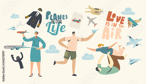 Planes in our Life Concept Wallpaper Mural