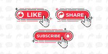 Like, Share, Comment, Subscribe And Share Icon Button Vector Illustration. Set Of Social Media Button Or Icon Vector Illustration Design Template For Video Channel, Blog And Background Banner Concept
