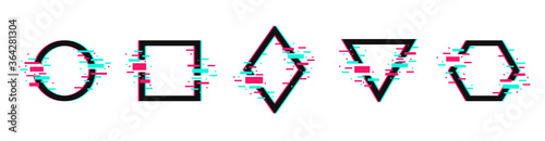 Vector geometric shapes frames with glitch effect. Music logo templates in distorted glitch style. Modern trendy backgrounds for design banner, poster, cover