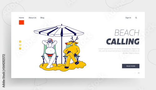 Fototapeta Santa Claus and Reindeer on Tropical Beach or Pool Party Landing Page Template. Characters Sitting on Chairs Relaxing under Parasol. Christmas Vacation, Xmas Holiday. Linear Vector Illustration obraz