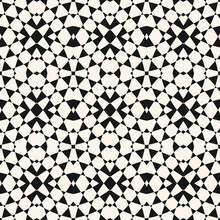 Vector Geometric Seamless Pattern. Abstract Monochrome Ornament. Crazy Psychedelic Design. Black And White Optical Art Texture. Simple Background. Repeatable Design For Decor, Print, Cover, Textile