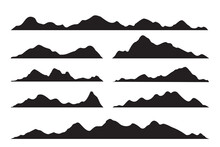 Vector Silhouette Of Mountains