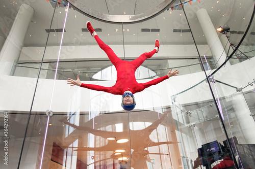 Obraz na płótnie levitation of sports people in a wind tunnel