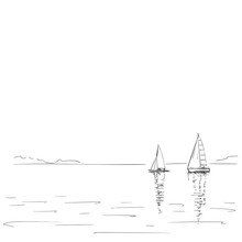 Drawing Of Two Sailing Boats W...