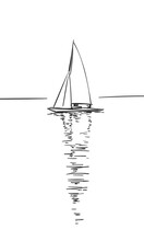Drawing Of Sailing Boat With R...