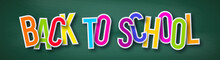 Back To School Typography Design. 3d Text On Chalkboard Background. Vector Illustration.