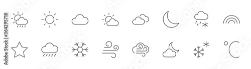 Weather Line Icons. Sun, Clouds, Snowflakes, Wind, Rainbow, Moon Editable Stroke