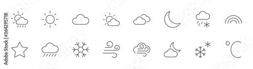 Fototapeta Weather Line Icons
