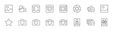 Cameras Photo Line Icons. Symbols Portraits And Family Photos. Editable Stroke