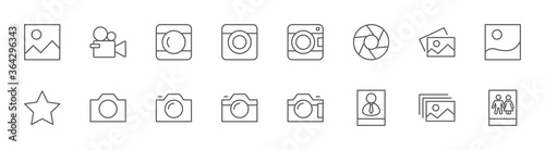 Fototapeta Cameras photo Line Icons. Symbols Portraits and Family Photos. Editable Stroke obraz