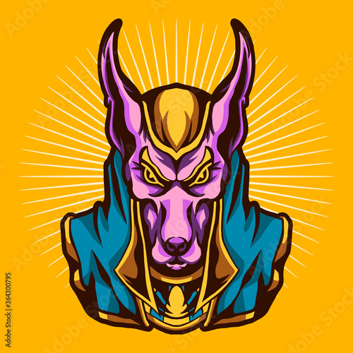 anubis vector illustration design isolated on yellow background Canvas Print
