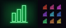 Neon Upward Graph Icon. Glowin...