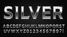 Silver Font Style. Metallic Al...