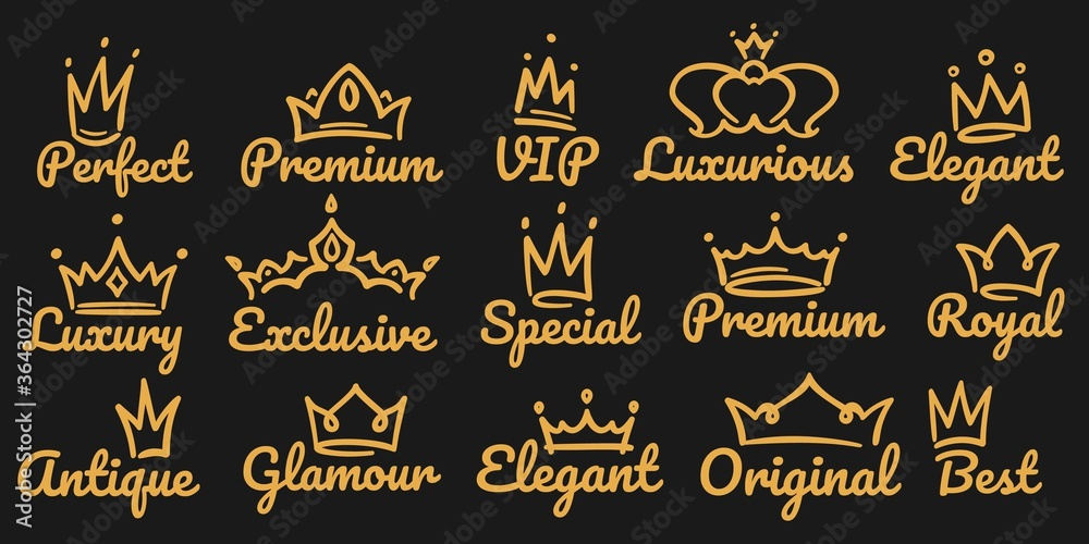 Fototapeta Premium crown logo. Sketch golden luxurious and exclusive, special and glamour diadems. Crowns with different decoration for vip or royal person logotype. Queen, king accessory vector illustration