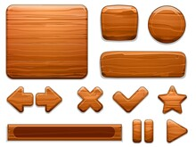 Wooden UI. Wood Textured Plate Frame, Cartoon Banner Panel And Game Buttons. Arrow, Star And Play Stop Button Vector Illustration Set. Assets Of Different Shapes, Kit For Playing, Gui Elements