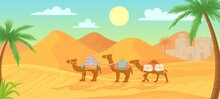 Desert Camel. Caravan In Egypt Sahara Landscapes. Cartoon Arabic Panoramic Vector Background With Sand Dunes And Camels With Saddle And Decorative Accessories. Domesticated Desert Animals