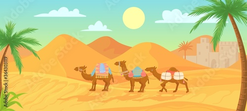 Fototapeta Desert camel. Caravan in egypt sahara landscapes. Cartoon arabic panoramic vector background with sand dunes and camels with saddle and decorative accessories. Domesticated desert animals obraz