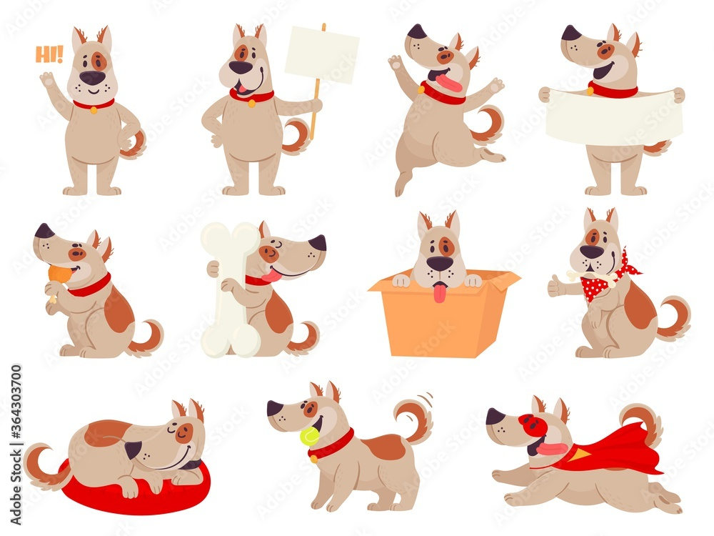Fototapeta Cartoon dog mascot. Cute dogs in different action and emotion, happy smile friendly behavior pet, character funny avatar vector set. Puppy playing with ball, sitting in box, sleeping, eating